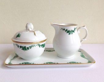 Alt Furstenberg Porcelain Creamer Sugar Box and Tray made in Germany