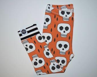 Orange Skulls - Baby Leggings, Toddler Leggings, Halloween