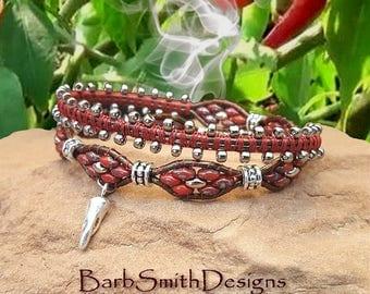 """Red Wrap Bracelet-Chili Bracelet-Beaded Leather Bracelet-Southwest Bracelet-2-Wrap Bracelet-Magnet Clasp-Size 7""""-Custom Sizes-""""Chili Snap!"""""""