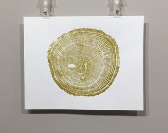"Original Oak Tree Print in Gold (block #4), unframed (""11x14"" or 18""x24"")"
