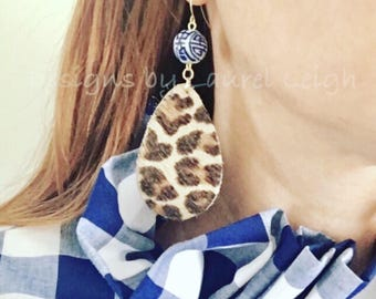 LEOPARD PRINT Earrings | Chinoiserie, statement earrings, gold, animal, print, blue and white, leather, cheetah, fur