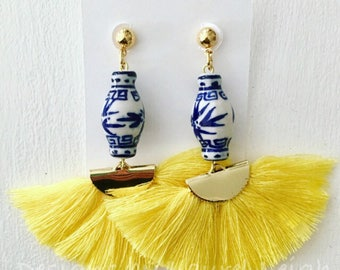YELLOW Ginger Jar Fan Earrings | fan, lightweight, blue and white, chinoiserie, gold, statement earrings, Designs by Laurel Leigh