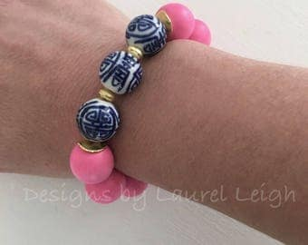 PINK Chinoiserie Beaded Bracelet | gold, bubblegum pink, chunky, stretchy, blue and white, Designs by Laurel Leigh