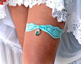 Mint Garter, Wedding Garters, Mint Garter Set, Lace Garter Mint, Bridal Garter Set, Wedding Garter Set, Rhinestone Garters, Green Garter Set