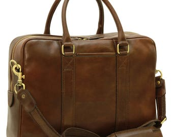 Leather Briefcase in Dark Brown made of Genuine Italian Leather - Leather Bag - Laptop Bag - Travel Bag - Mens Gift