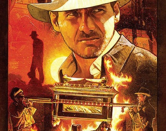 Indiana Jones Raiders of the Lost Ark Movie Poster A3 or A4 Matt