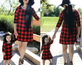 Flannel, red and black dress,mommy and me, plaid, christmas outfits,  matching outfits,mother daughter,matching dresses,mommy and me outfits