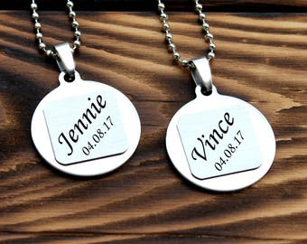 Personalized necklace, couple necklace, custom necklace, necklace set, date necklace, customized necklace, anniversary necklace, engagement