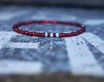 Red Men Simple Beaded Bracelet, Japanese Seed Bead Bracelet, Men Slim bead Bracelet, Men Thin Bracelet, Men Tiny Bracelet, Seed Bead Bangle