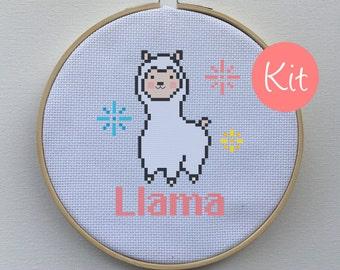Modern Animal Embroidery Kit, Cross Stitch Kit - Modern Llama Alpaca Counted Cross-Stitch Pattern Kit - Silly, Funny, Happy, Cute, Cheesy