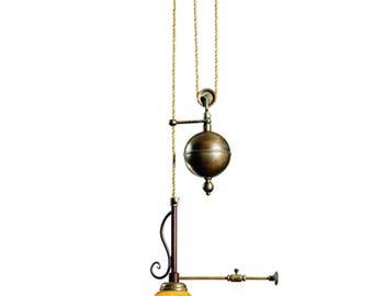 Italian Pendant, Pendant, Pull Down Pendant, Venetian Glass, Adjustable Pendant