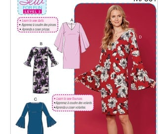 Sewing Pattern for Misses' Dresses w/ Flounce Sleeve Variations, McCall's Pattern 7681, New Pattern, Easy Sew Pattern, Learn to Sew Pattern