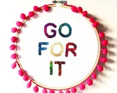BRANDY MARTIN - Embroidery Hoop Wall Art, Motivational Quote Gift, Go For It, Inspirational Quote, Embellished Sequin Art, Wall Art, Hoop
