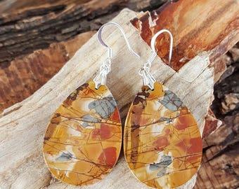 Red Creek Jasper and Sterling Silver Earrings, Extra Large Red Creek Jasper Teardrop Earrings, Large Teardrop Red Creek Jasper Slab Earrings