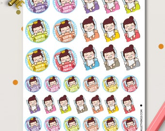 Sleep In Peggy Planner Stickers | Rest stickers |
