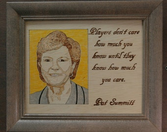 Pat Summitt - wood burned portrait and quote