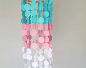 Baby mobiles, Pink Aqua, Baby Girl, Nursery Decor , Baby Mobiles, Paper Mobile , Crib mobile, Baby Shower, Party Decor, Aqua Pink decor,Baby