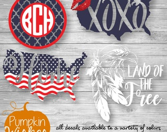 USA Decal/Patriotic Decal/Flag Decal/I Stand Decal/United States Decal/Eagle Decal/Glitter Decal/USA Car Decal/Yeti Decal