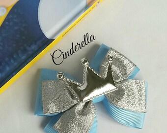Cinderella inspired,Princess, Hair Bow, Baby Headband, Crown, Blue, Silver,Disney,Party,Uk