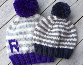 CF Fundraiser Hat, Monogram Beanie, Cystic Fibrosis Awareness, Knit Beanie for Child, Brother Sister Hats, Striped Hat, Fall Kids Clothing