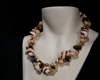 Big, bold and chunky necklace beige amber quartz. crystal and lucite simple easy upgrade
