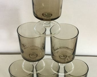 6 x Vintage Luminarc Smoked Grey Glasses