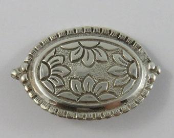 Sterling Silver  Oval Sunflower Brooch