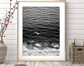 Beach Coast Print, Black and White Beach Print, Beach Photography, Ocean Wall Art, Wave Print, Coastal Decor, Digital Download Printable Art