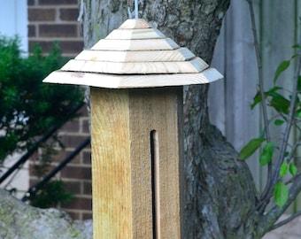 Hanging Wild Bird Feeders, Handmade Bird Feeder, Wooden Seed Feeder, Cedar Birdfeeder