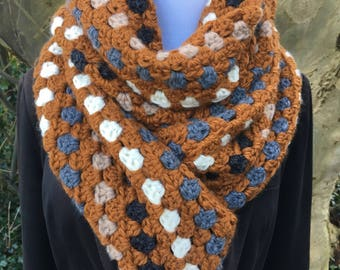 Brown and grey granny scarf / wrap