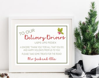 Printable Delivery Driver Treats Sign, Christmas Cheer for Delivery Drivers, Custom Sign, Thank You for Delivering our Packages