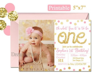 """Pink and Gold First Birthday Invitation, Printable 1st Birthday Invitation, Pink and Gold Invitation, 5""""x7"""", Digital File. 123"""