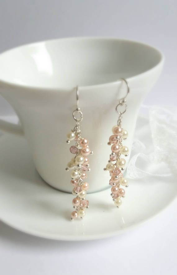 Sterling Silver Blush Pearl and Crystal Earrings
