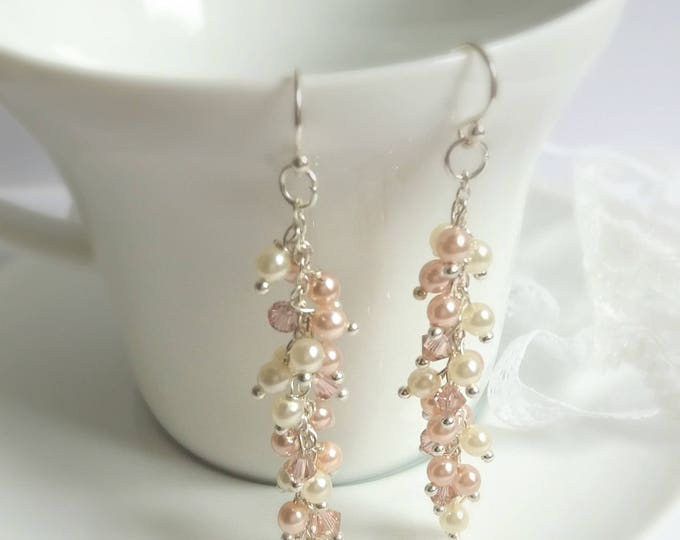 Blush earrings, Sterling silver earrings, bridal earrings, bridal jewelry, jewellery, wedding accessories, gift for her, Christmas gift