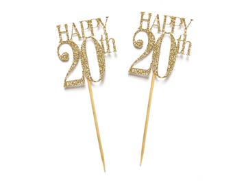 x8 Happy 20th Birthday Cupcake Toppers ~ Gold Glitter 20th Cake Toppers ~ Pink & Gold 20th ~ Happy 20th Toppers ~ Birthday Party Decorations