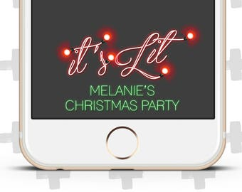 Custom Snapchat Filter for Christmas Party, Holiday Party, Christmas Lights, It's Lit, It's Litty, XMas Party, Winter Celebration