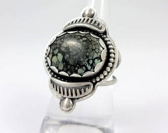 LaoOne * Sterling Silver Ring * Natural Tree Frog Turquoise green/grey/black