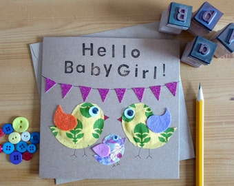 Baby Card - Baby Girl - Baby Boy - Congratulations Card - Handmade Card - Animal Card