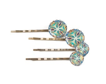Polymer Clay Hair Pin, Kaleidoscope Bobby Pins, Hair Slides, Small Hair Clips for Women, Hair Accessories for Women Bronze Adornments, per 1