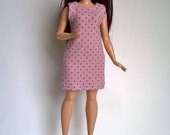 Delicate purple polka-dot summer dress for curvy Barbie