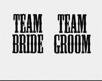 team bride team groom wedding svg dxf file stencil monogram frame silhouette cameo cricut clip art commercial use