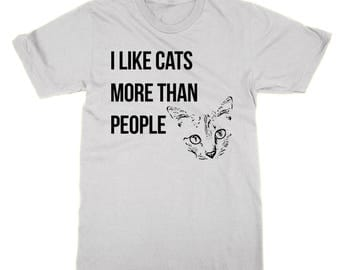 I Like Cats More Than People t-shirt funny cat lover tee animal lover top cat present feline gift