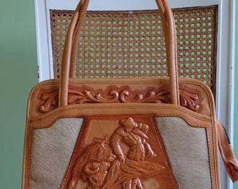 Mexican tooled leather handbag /  vintage / tooled leather / purse / tan leather / cowskin