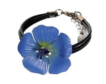 linen leather flower bracelet