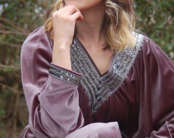 Vintage 70s dress // Hostess Gown // velvet dress