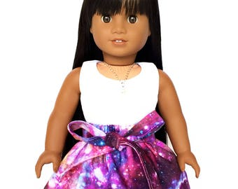 Flare Skirt, Sash, Galaxy, Outer Space, Luciana, Purple, Pink, Blue, Fits dolls such as American Girl, 18 inch Doll Clothes, GOTY