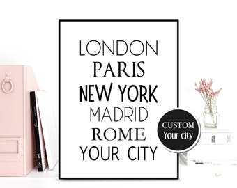 Personalized city poster, Custom city poster, Custom city print, Custom wall decor, Custom printable, New York Paris London Rome Madrid