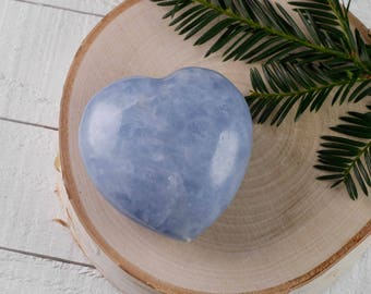 One Large Blue CALCITE Heart Shaped Stone - Blue Crystal Healing Stone, Heart Rock, Chakra Crystal, Heart Stone, Heart Chakra Stone E0655