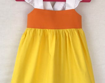 Halloween Baby Dress, Candy Corn Dress, Baby Girls Dress, Little Girls Dress, Flutter Sleeve Dress