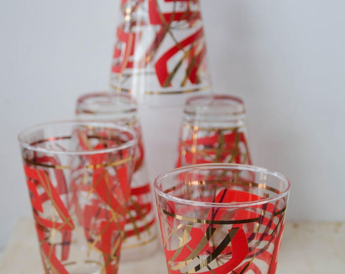 Vintage set of 5 glasses. Midcentury